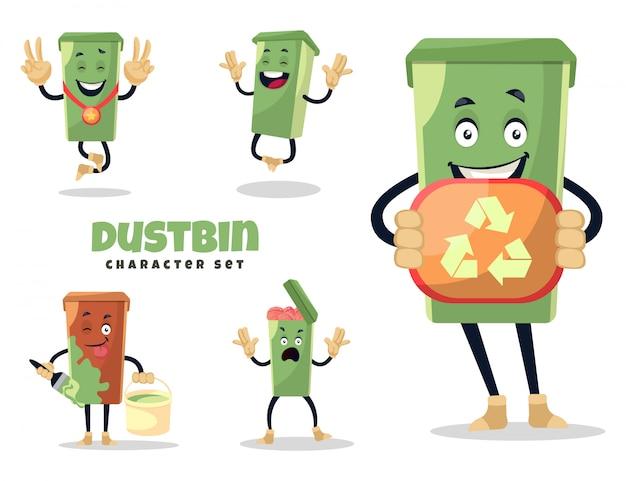 ゴミ箱の文字セットの漫画イラスト