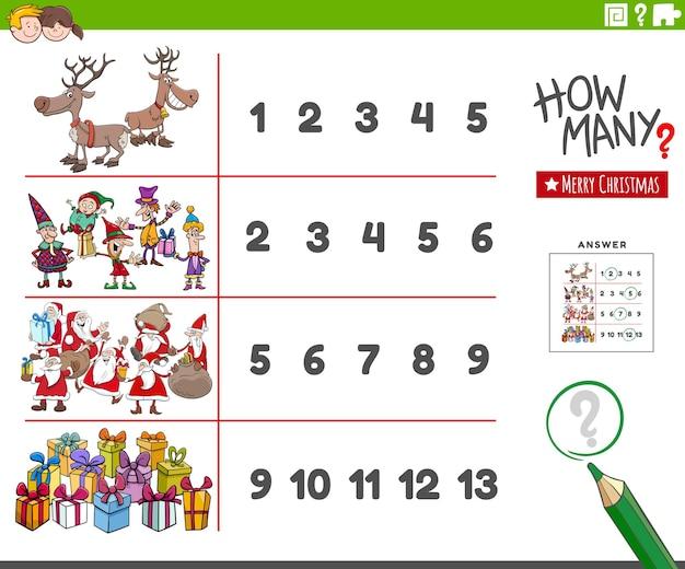 Иллюстрации шаржа образовательной деятельности подсчета с рождественскими персонажами