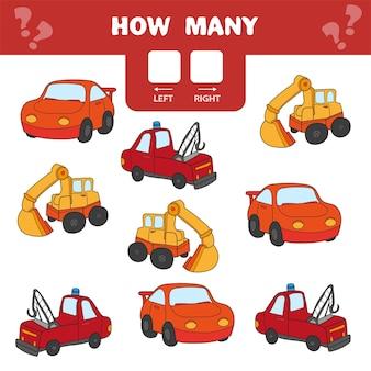 Карикатура иллюстрации развивающей игры подсчета левой и правой картинки для детей - автомобили и транспорт