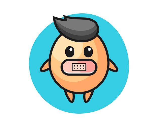 Иллюстрация шаржа яичка с лентой на рте, милый стиль для футболки, стикера, элемента логотипа