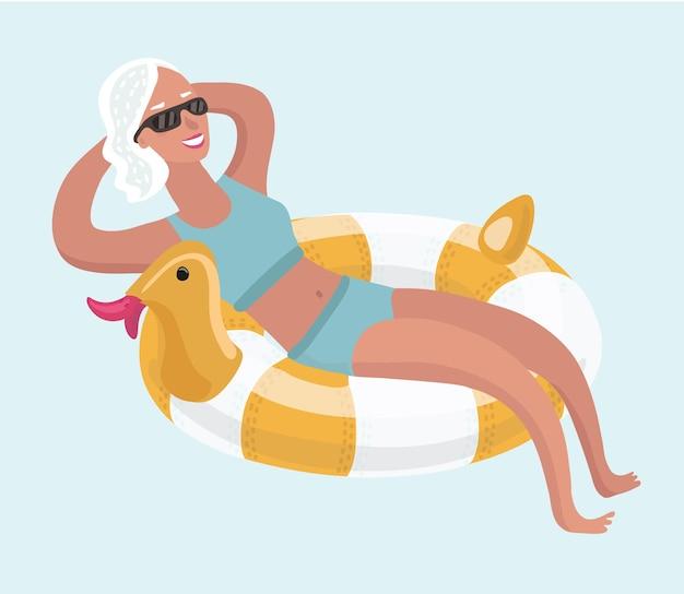 Карикатура иллюстрации пожилой женщины расслабляющий принимать солнечные ванны