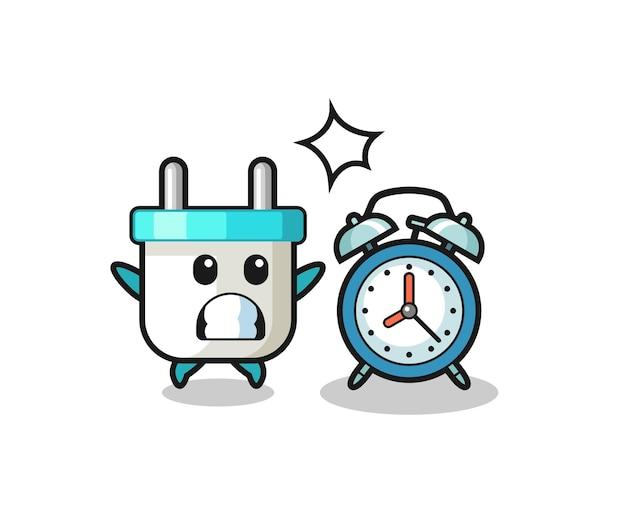 電気プラグの漫画イラストは巨大な目覚まし時計に驚いています