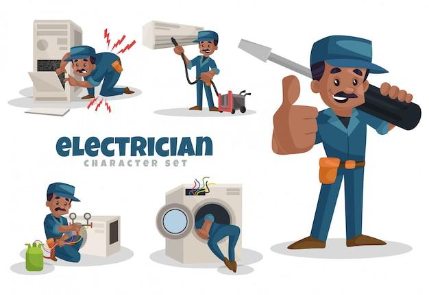 電気技師の文字セットの漫画イラスト