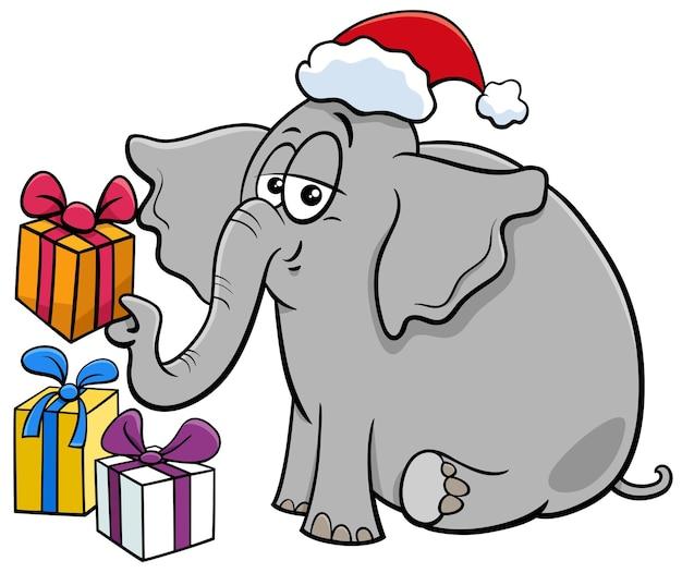 크리스마스 시간에 선물과 함께 코끼리 동물 캐릭터의 만화 그림