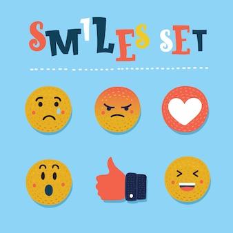 Иллюстрации шаржа смайлика. красочные смешные рисованной современная концепция. абстрактный смешной плоский стиль смайликов смайлика реакции цвет значка набор. коллекция выражения социальной улыбки.