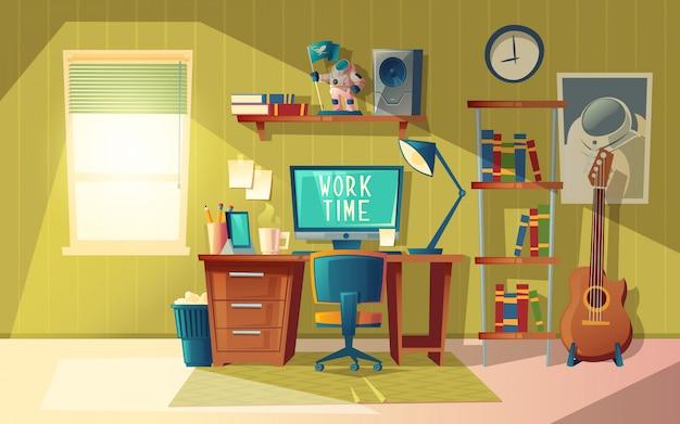 空のホームオフィスの漫画のイラスト、家具付きのモダンなインテリア