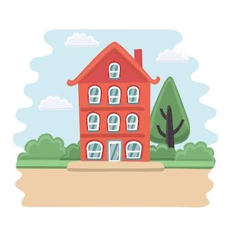 英語の3階建ての家の正面の漫画イラスト