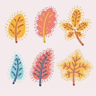 Карикатура иллюстрации набора опавших осенних листьев. красный, желтый дуб, каштан, эспе. современная концепция осенней темы.
