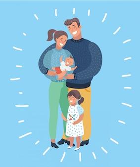 家族イラストの漫画イラスト。父、母、息子、娘。孤立した背景に人間の現代的なキャラクター。子供と若い括弧。