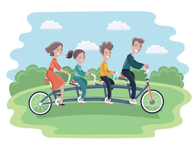 家族の乗馬タンデム自転車の漫画イラスト