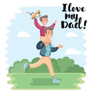 Карикатура иллюстрации отца несет сына, сидящего на его шее