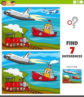 Мультяшная иллюстрация развивающей игры для детей с персонажами транспортных средств в поисках отличий
