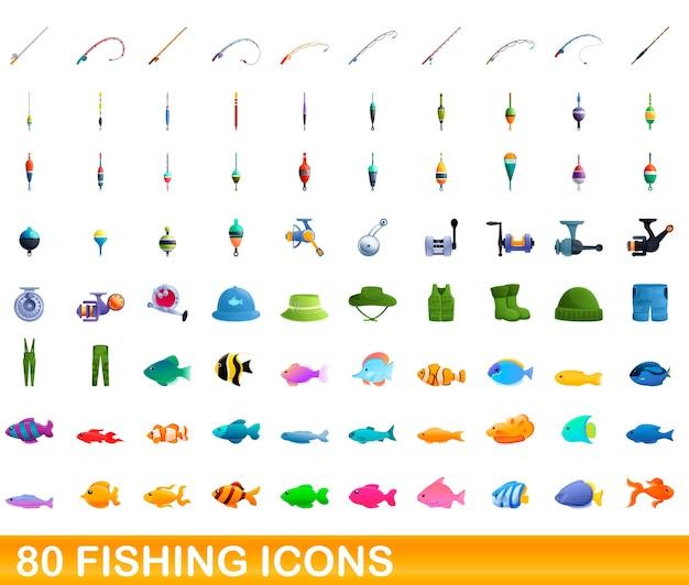 Карикатура иллюстрации набор иконок рыбалка, изолированные на белом