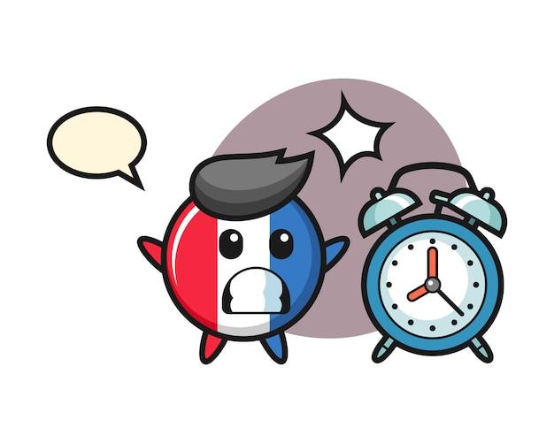フランスの旗バッジの漫画イラストは巨大な目覚まし時計で驚いています