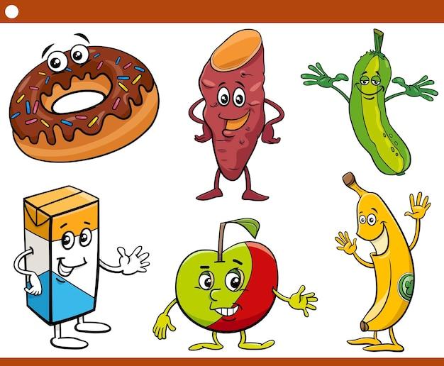 面白い食べ物オブジェクトのキャラクターの漫画イラスト
