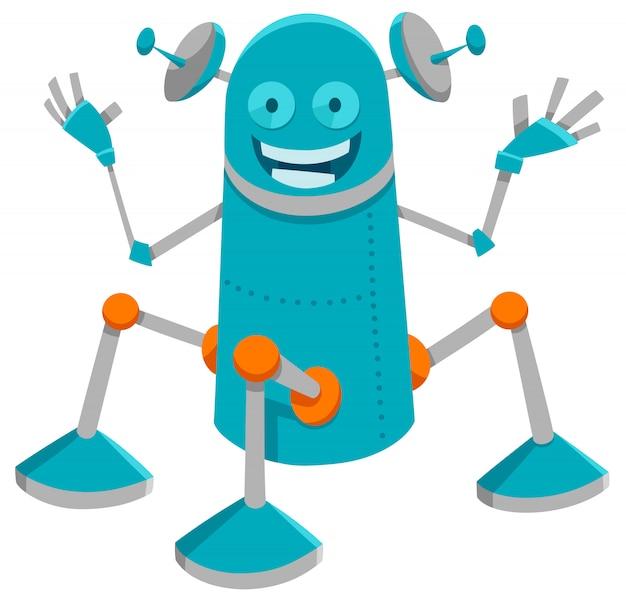 재미 있은 로봇 또는 드로이드의 만화 그림