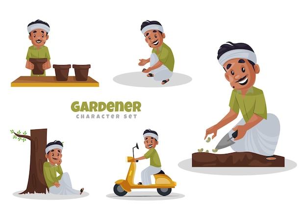 Иллюстрации шаржа набор символов садовник