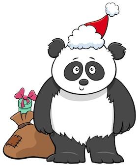 크리스마스 시간에 선물 자루를 들고 자이언트 팬더 동물 캐릭터의 만화 그림