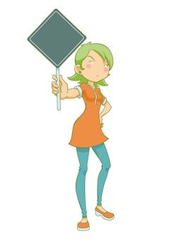 抗議バナーを持っている少女の漫画のイラスト。