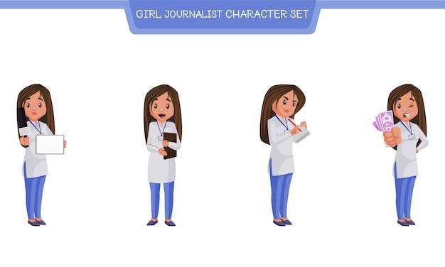 女の子ジャーナリストのキャラクターセットの漫画イラスト