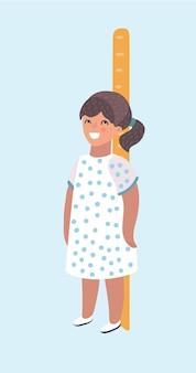 Карикатура иллюстрации девушки измеряет рост и рост