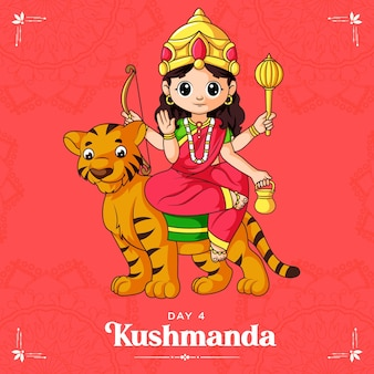 Navratri 배너에 대한 여신 kushmanda maa의 만화 그림 navratri 축제 중 하나