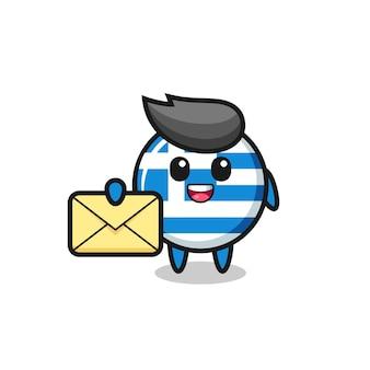 노란색 편지를 들고 그리스 국기의 만화 그림, 티셔츠, 스티커, 로고 요소에 대한 귀여운 스타일 디자인