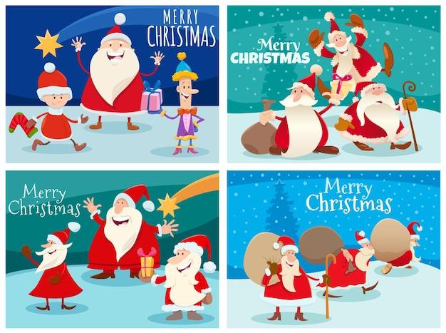 크리스마스 시간에 산타 클로스 캐릭터로 설정된 인사말 카드의 만화 그림