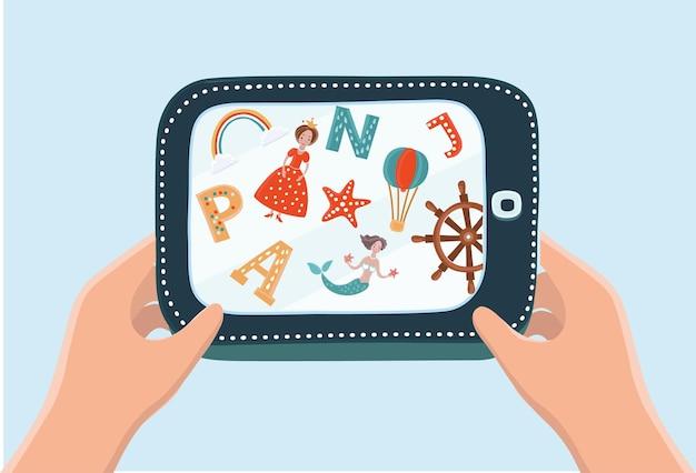 Карикатура иллюстрации руки, держащей планшет