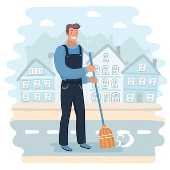 落ち葉を掃除するハンサムな幸せな用務員の漫画イラスト