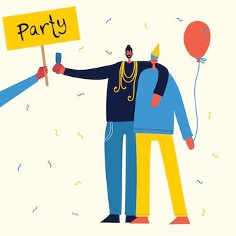 パーティーで祝うハッピーバースデーの漫画イラスト。友情、健康的なライフスタイル、成功、祝って、パーティーのコンセプトです。
