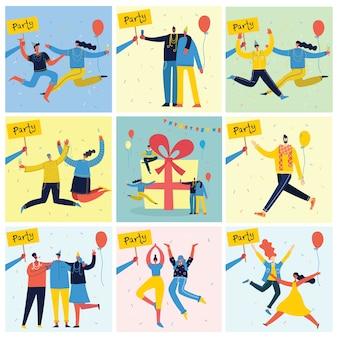 パーティーに飛び乗って祝う人々の幸せなグループの漫画イラスト。友情、健康的なライフスタイル、成功、祝う、パーティーの概念。女性のフラットキャラクター