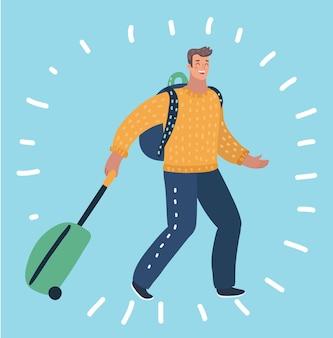 スーツケースを持って歩く幸せな男の漫画イラスト