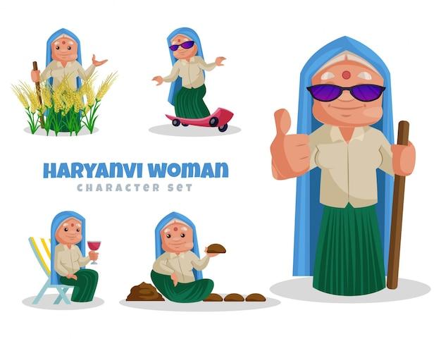 Haryanvi 여자 캐릭터 세트의 만화 그림
