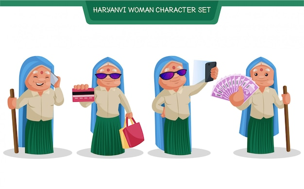 Haryanvi 여자 캐릭터 세트의 만화 그림 프리미엄 벡터