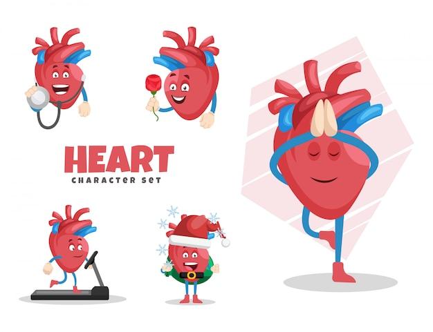 Иллюстрации шаржа набора символов сердца
