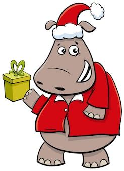 크리스마스 시간에 하마 동물 캐릭터의 만화 그림