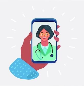 オンライン医療相談の概念、ヘルスケアサービス、医師に尋ねるヒップスタードクターの漫画イラスト。