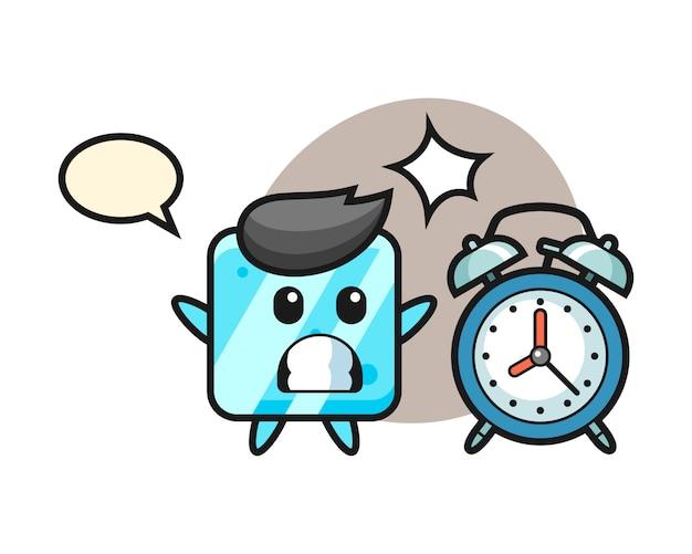 Карикатура иллюстрации кубика льда удивлена гигантским будильником