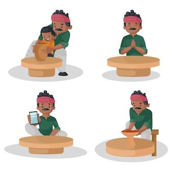 インドの陶工のキャラクターセットの漫画イラスト