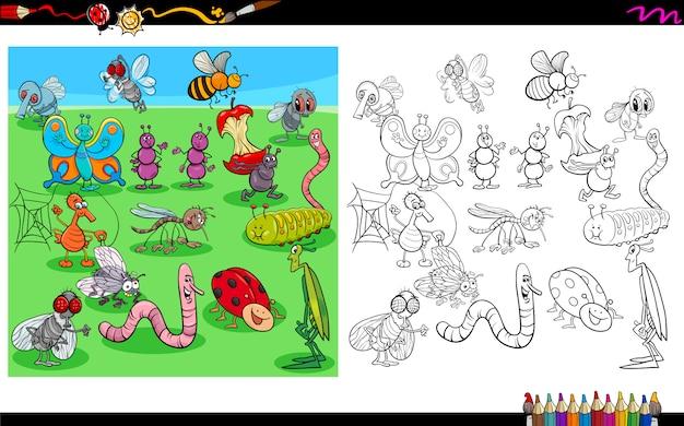 곤충 캐릭터 색칠 공부의 만화 그림