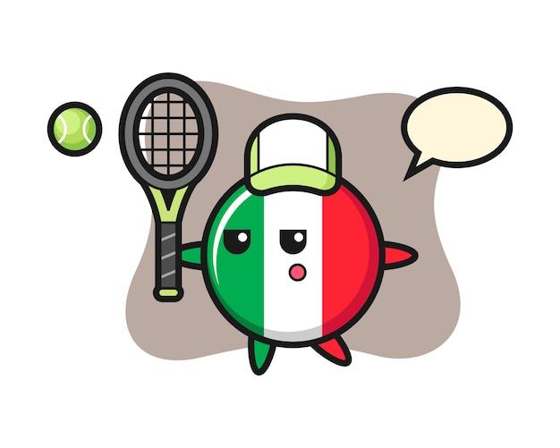 テニスプレーヤー、かわいいスタイル、ステッカー、ロゴ要素としてイタリアの旗バッジの漫画イラスト