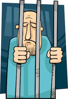 刑務所に入れられた男の漫画のイラスト