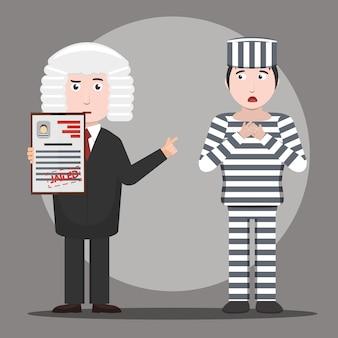 Карикатурная иллюстрация судьи, выносящего приговор заключенному. понятие справедливости и закона.
