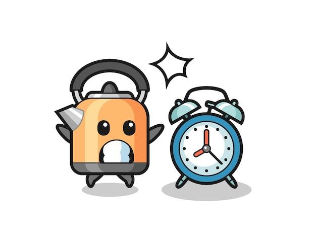 やかんの漫画イラストは、巨大な目覚まし時計、tシャツ、ステッカー、ロゴ要素のかわいいスタイルのデザインに驚いています