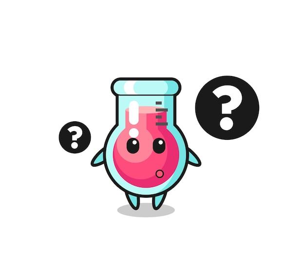 물음표가 있는 실험실 비커의 만화 그림, 티셔츠, 스티커, 로고 요소에 대한 귀여운 스타일 디자인