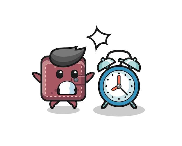 革の財布の漫画イラストは巨大な目覚まし時計に驚いています