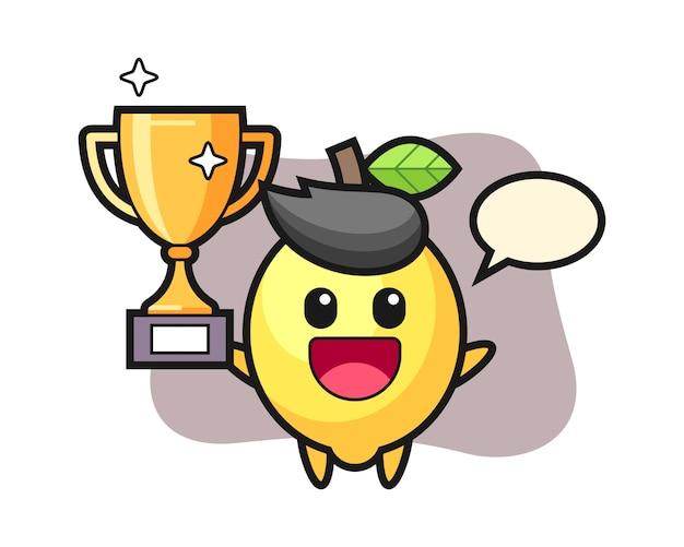 Карикатура иллюстрации лимона счастлив, подняв золотой трофей