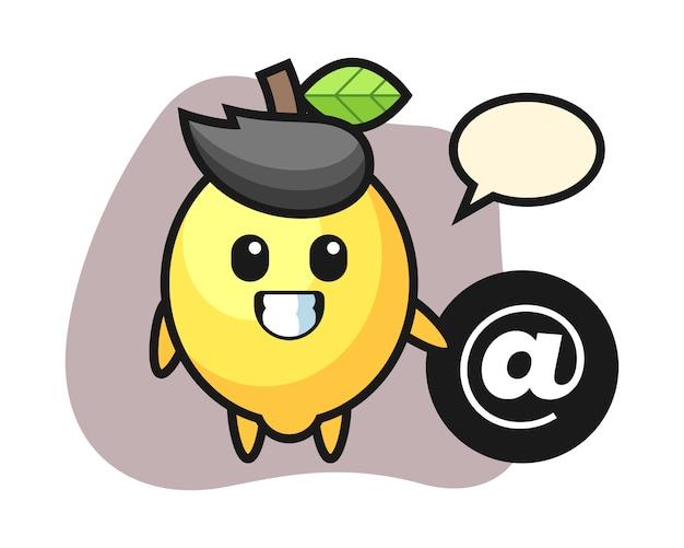 Иллюстрация шаржа лимона стоя около символа at