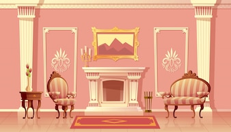 Cartoon illustration of luxury living room with fireplace, ballroom or hallway with pilasters